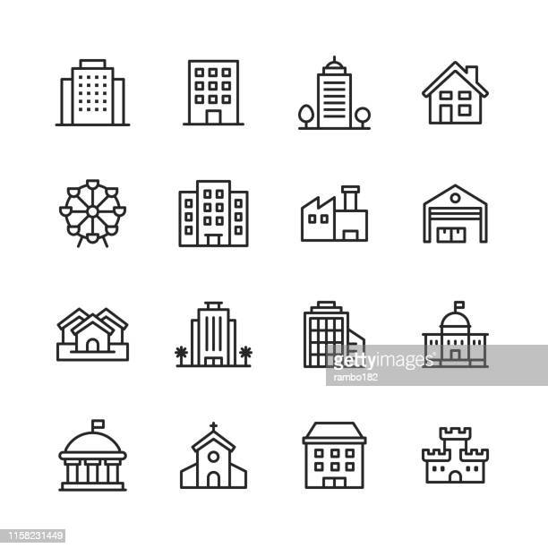stockillustraties, clipart, cartoons en iconen met building line iconen. bewerkbare lijn. pixel perfect. voor mobiel en web. bevat pictogrammen zoals gebouw, architectuur, bouw, huis, huis, fabriek, garage, kerk, overheid, kasteel. - groot bedrijf