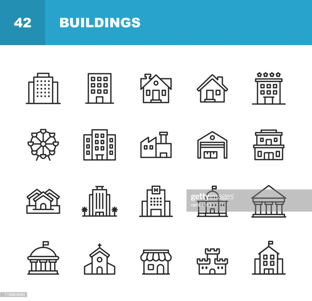 Building Line Icons. Editable Stroke. Pixel Perfect. For Mobile and Web. Contains such icons as Building, Architecture, Construction, Real Estate, House, Home, School, Hotel, Church, Castle. : Stock Illustration