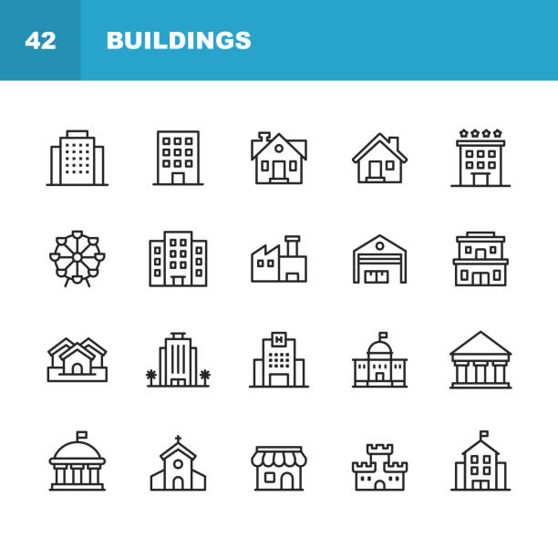 building line icons. editable stroke. pixel perfect. for mobile and web. contains such icons as building, architecture, construction, real estate, house, home, school, hotel, church, castle. - vector stock illustrations