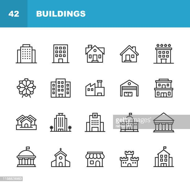 stockillustraties, clipart, cartoons en iconen met building line iconen. bewerkbare lijn. pixel perfect. voor mobiel en web. bevat pictogrammen zoals gebouw, architectuur, bouw, onroerend goed, huis, huis, school, hotel, kerk, kasteel. - business