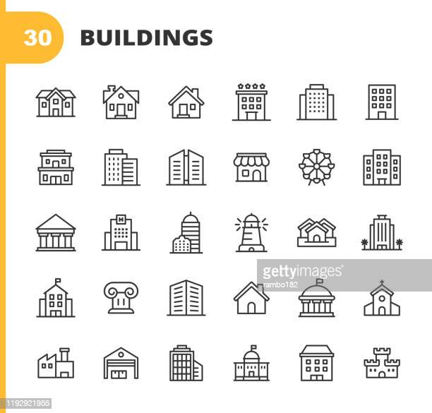 illustrazioni stock, clip art, cartoni animati e icone di tendenza di building line icons. editable stroke. pixel perfect. for mobile and web. contains such icons as building, architecture, construction, real estate, house, home, school, hotel, church, castle. - organizzazioni aziendali