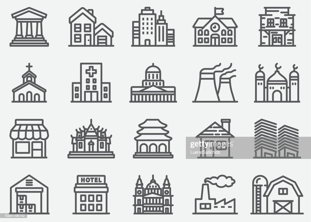 Building Line Icons : stock illustration