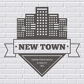 building logo or label template  background on  brick wall