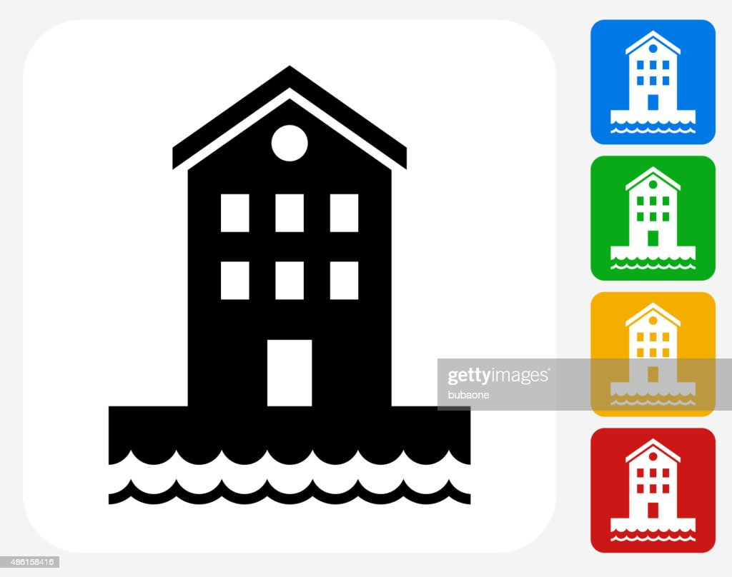 Building near Water Icon Flat Graphic Design : stock illustration
