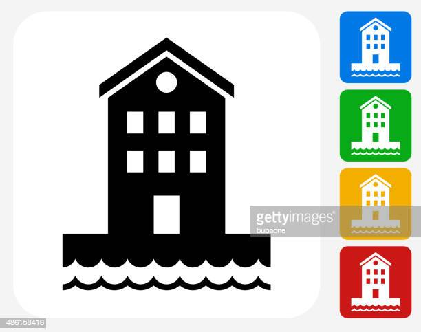 Building near Water Icon Flat Graphic Design