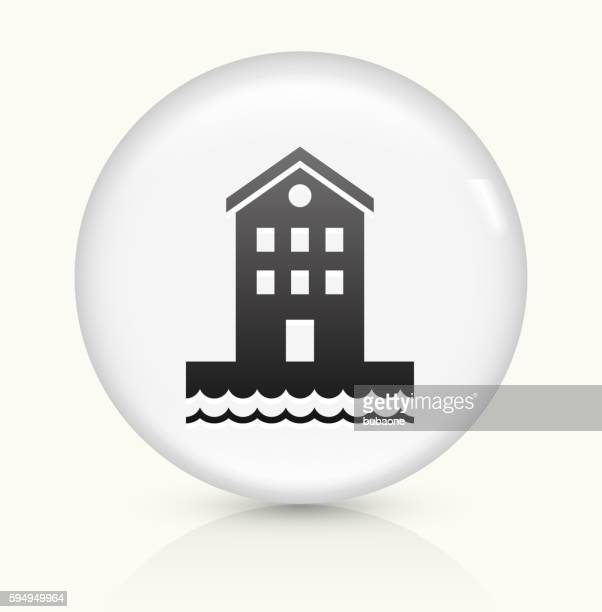 Building near Water icon on white round vector button