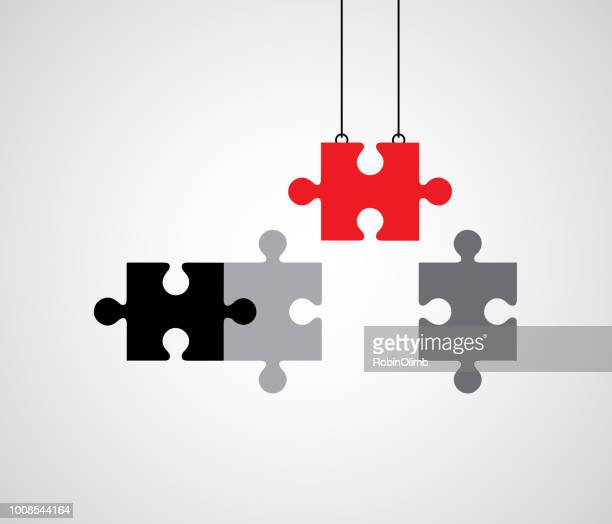 building puzzle pieces - solution stock illustrations
