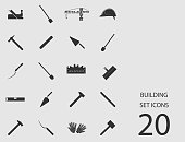 Building set of flat icons. Vector illustration