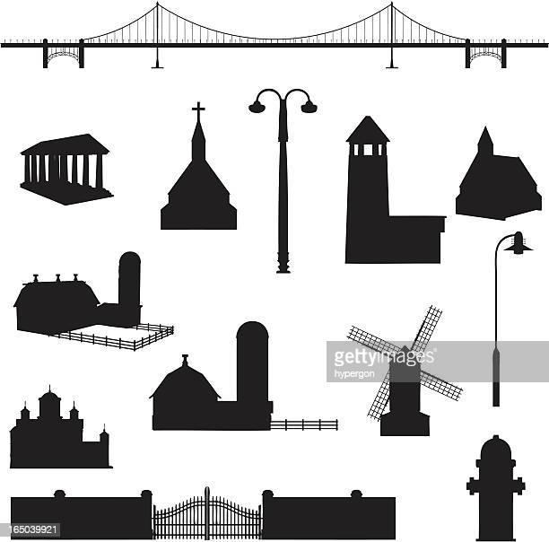 ilustraciones, imágenes clip art, dibujos animados e iconos de stock de construcción silueta collection (vector jpg - puente colgante