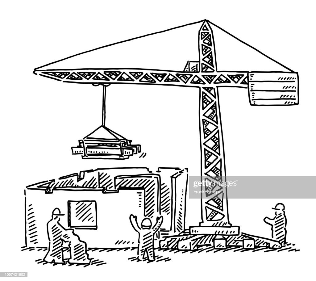 Building Site Crane Drawing : Stock Illustration
