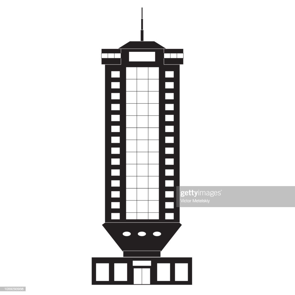Building. Skyscraper. Vector illustration black on white.