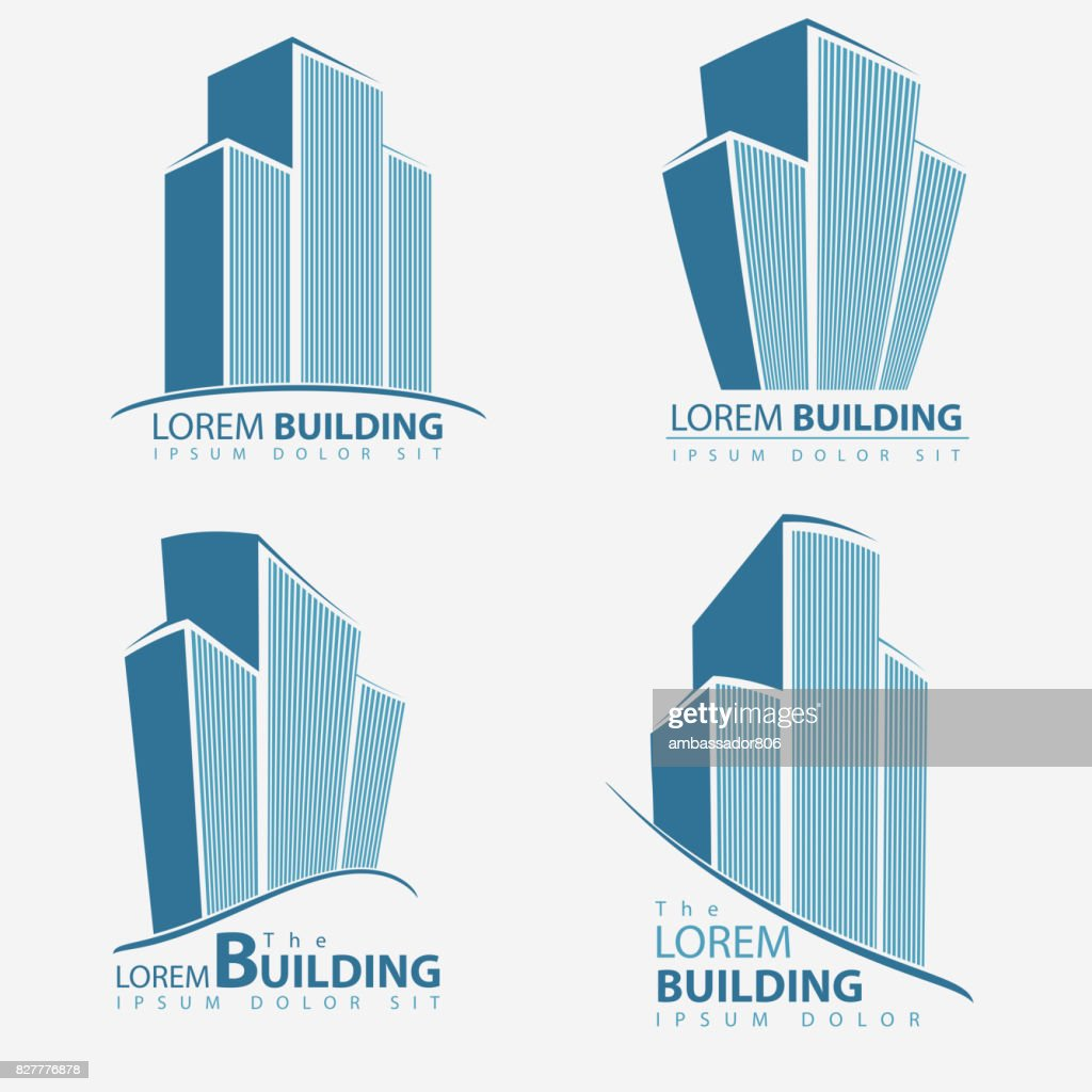 Building symbol set, architecture business illustration