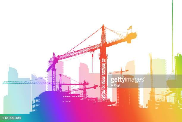 building the city rainbow - steel cable stock illustrations