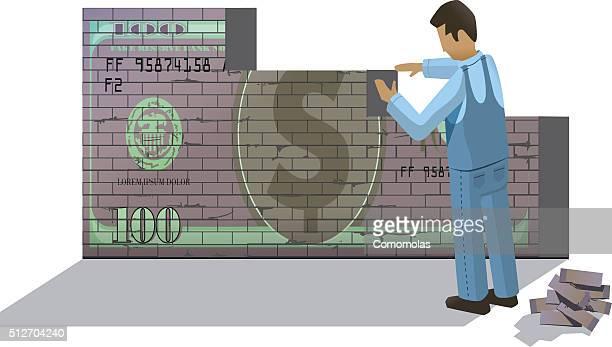 ilustraciones, imágenes clip art, dibujos animados e iconos de stock de edificio de la economía - fajo de billetes
