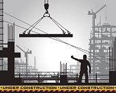 building under construction silhouette.