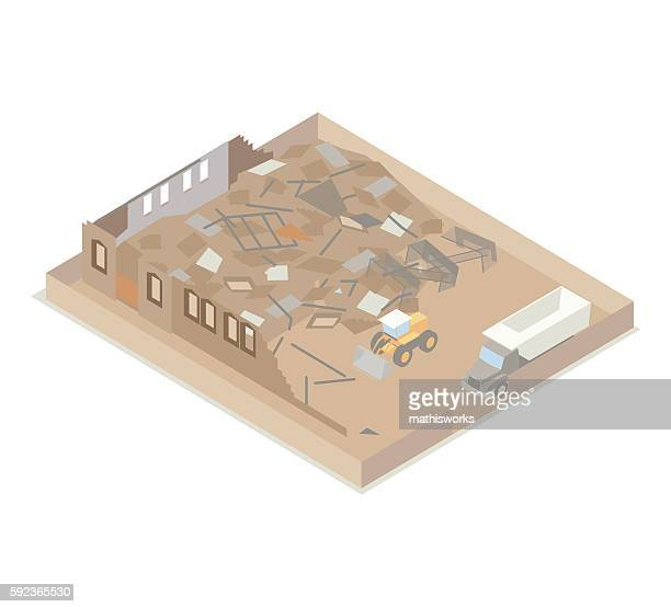 building under demolition illustration - mathisworks architecture stock illustrations