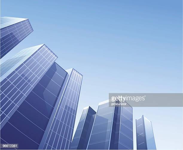 ilustraciones, imágenes clip art, dibujos animados e iconos de stock de edificio - vista de ángulo bajo