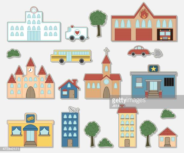 building & vehicle stickers - post office stock illustrations, clip art, cartoons, & icons