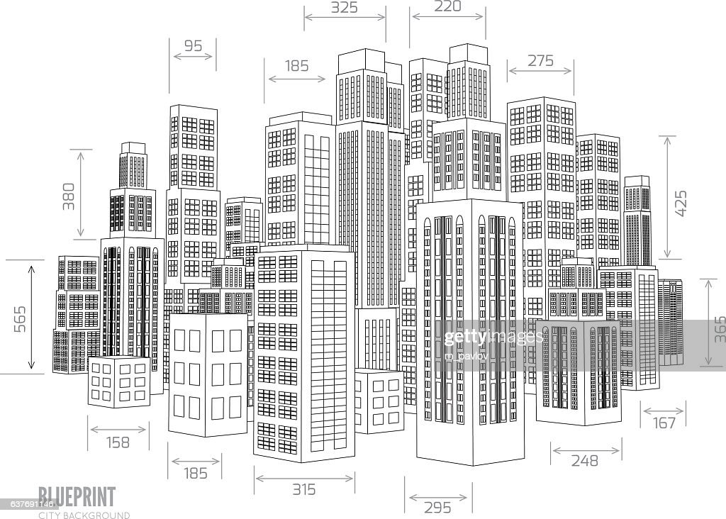 Building wireframe. 3d render city.