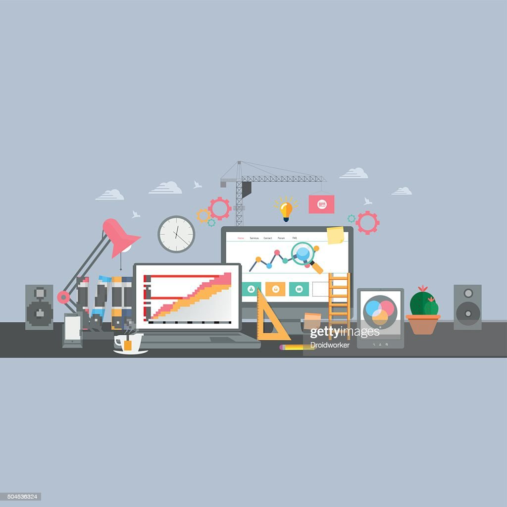 Building/Designing a website or application. Flat style vector design