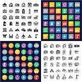 Buildings All in One Icons Black & White Color Flat Design Freehand Set