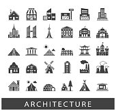 Buildings and architecture icons set