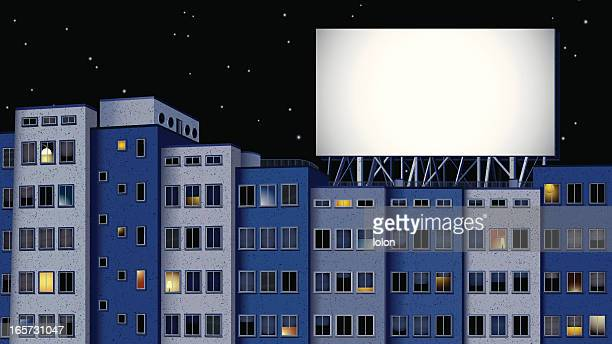 gebäude und plakat in der nacht - fenster stock-grafiken, -clipart, -cartoons und -symbole