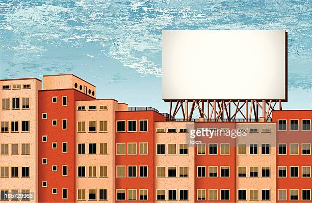 stockillustraties, clipart, cartoons en iconen met buildings and billboard with cloudy background - zonder mensen