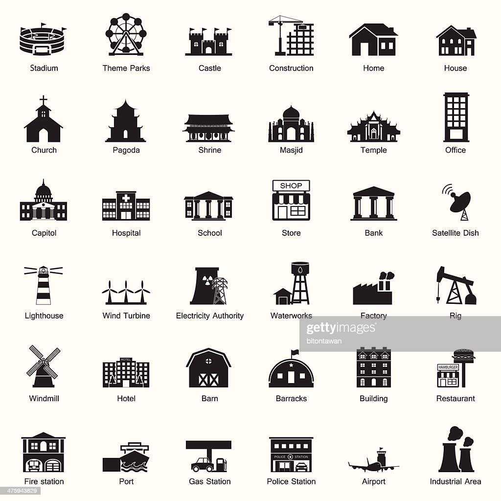 Buildings and city icon set