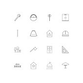 Buildings And Constructions linear thin icons set. Outlined simple vector icons