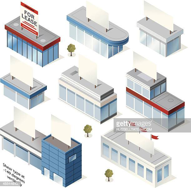 buildings and signs - showroom stock illustrations, clip art, cartoons, & icons