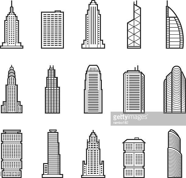Buildings and skyscraper icons on white background