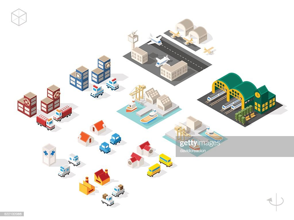 Buildings and Vehicles with Shadows on White Background.