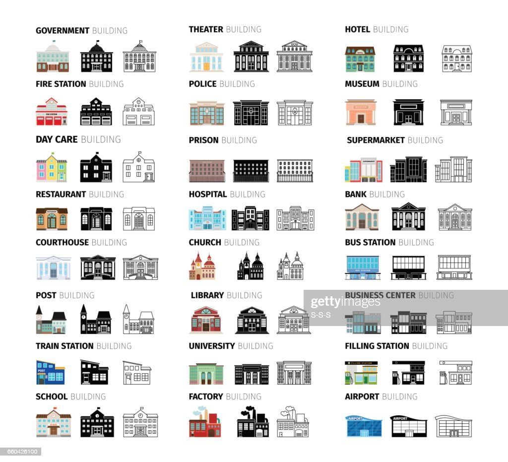 Buildings cartoon icons set