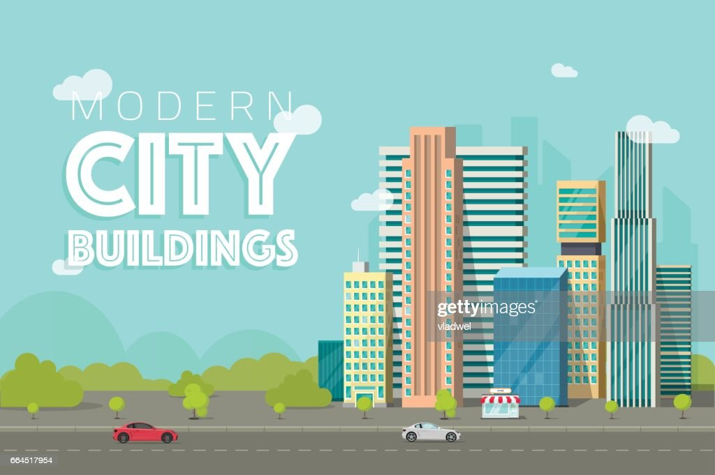 Buildings city vector illustration, flat skyscrapers near forest trees panorama, cityscape architecture, urban street