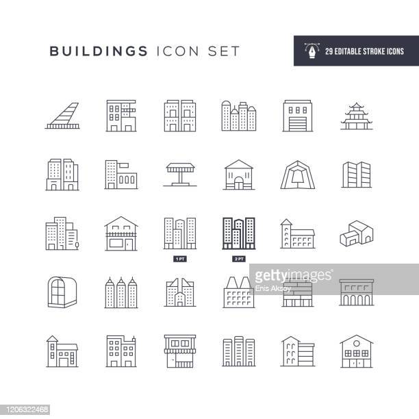 buildings editable stroke line icons - human settlement stock illustrations