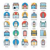 Buildings Flat Icons Set