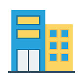buildings flat vector icon