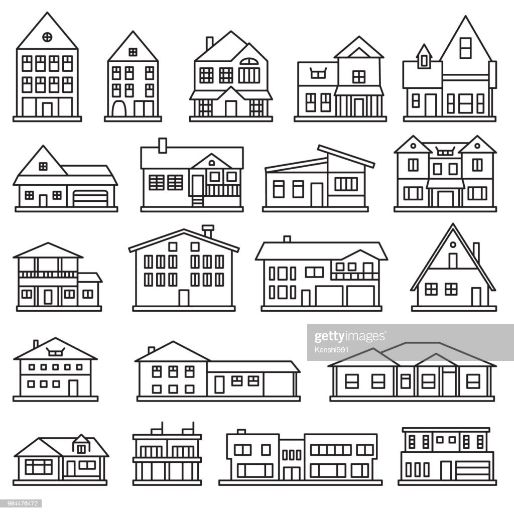 Buildings, home and house thin line icon set. Vector icons.