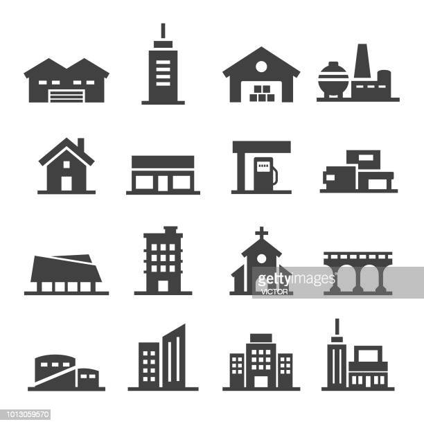 buildings icon - acme series - shopping mall stock illustrations