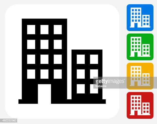 Buildings Icon Flat Graphic Design