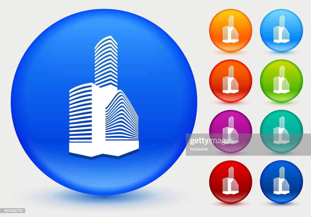 Buildings Icon on Shiny Color Circle Buttons : Vector Art