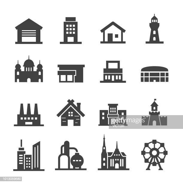 buildings icon set - acme series - ferris wheel stock illustrations, clip art, cartoons, & icons