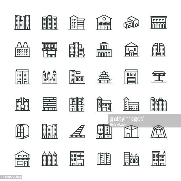 buildings icon set - town hall government building stock illustrations