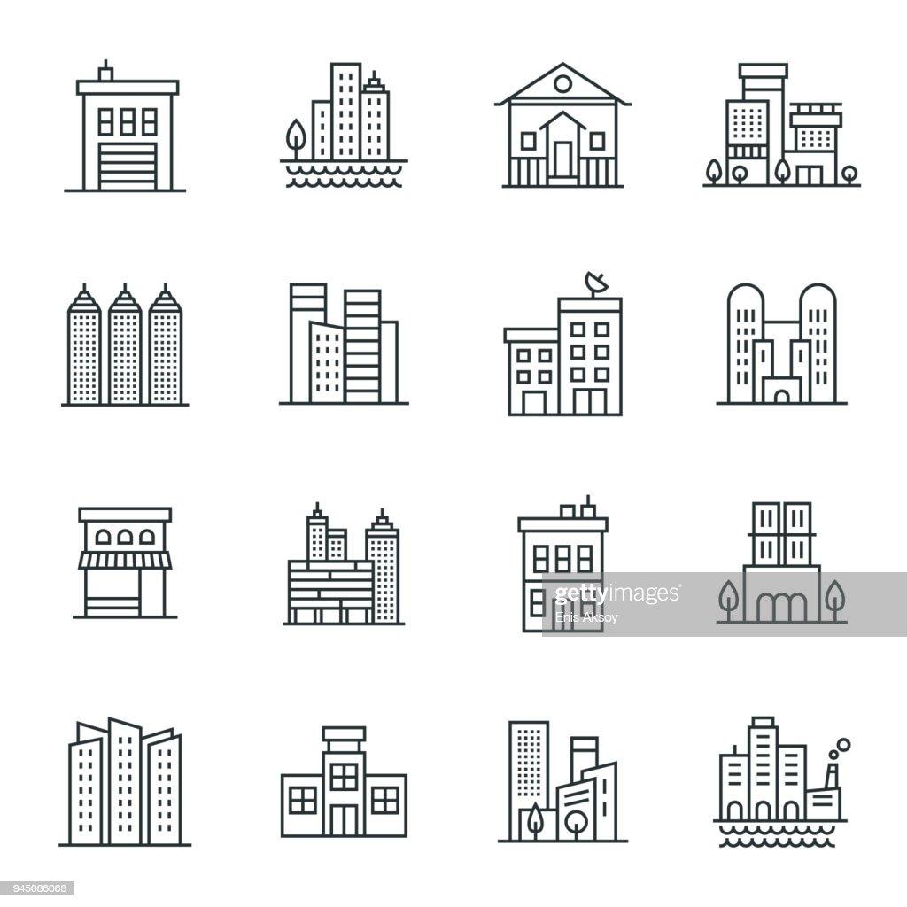 Jeu d'icônes de bâtiments : Illustration