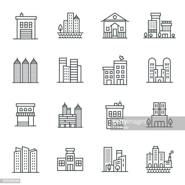 buildings icon set - town hall stock illustrations