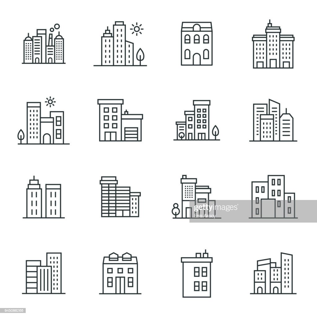 Buildings Icon Set : stock illustration