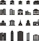 Buildings icon set. Vector.
