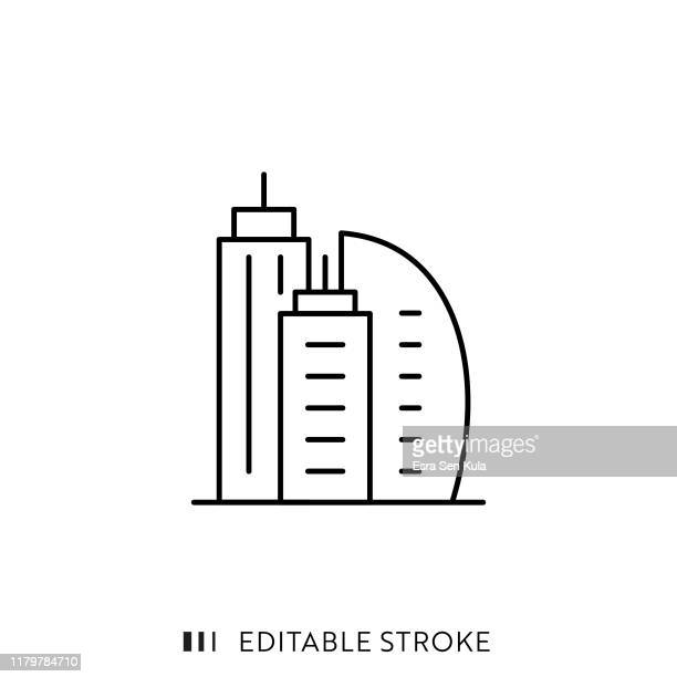 buildings icon with editable stroke and pixel perfect. - skyscraper stock illustrations