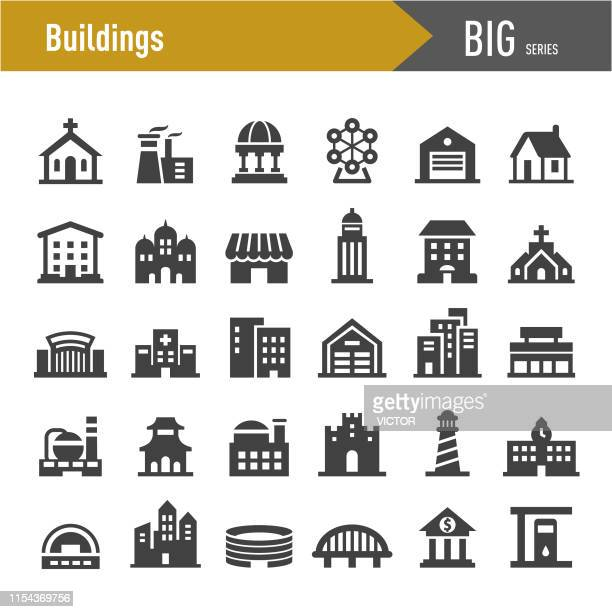 buildings icons - big series - temple building stock illustrations, clip art, cartoons, & icons